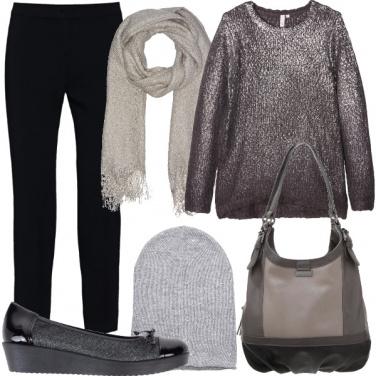 Outfit Argento sul maglione
