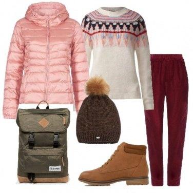 Outfit Pullover norvegese e piumino rosa