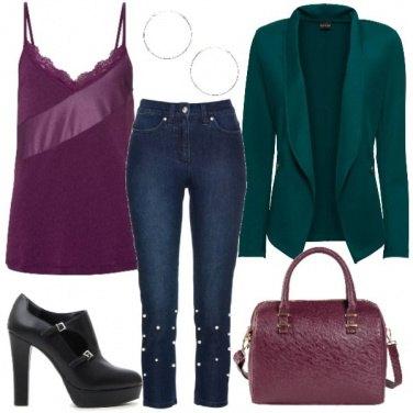 Outfit Verde e melanzana