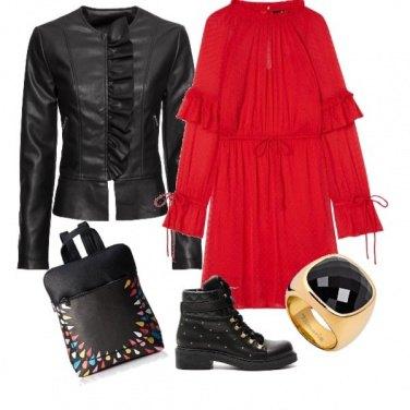 Outfit Piccoli voulant in rosso e nero