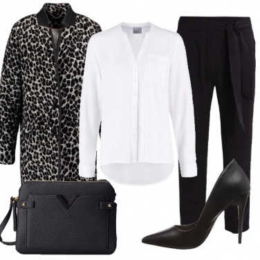 Outfit Camicia bianca e animalier