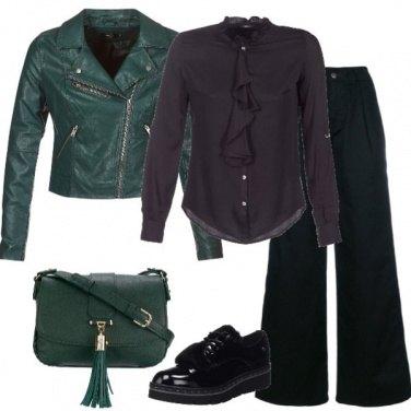Outfit Biker verde