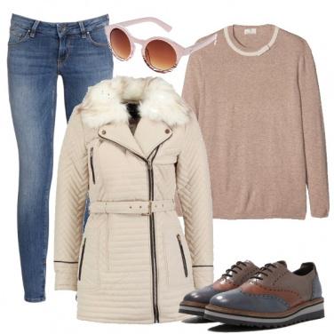 Outfit Blu e nocciola