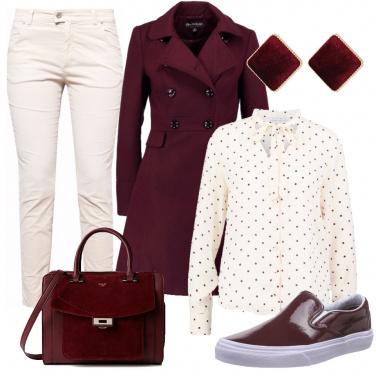Outfit Crema e bordeaux