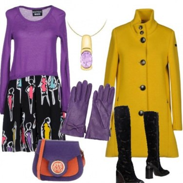 Outfit Viola e senape insieme