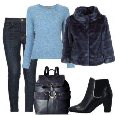 Outfit Pelliccetta blu