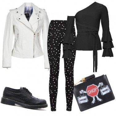 Outfit Chiodo bianco e scarpa stringata