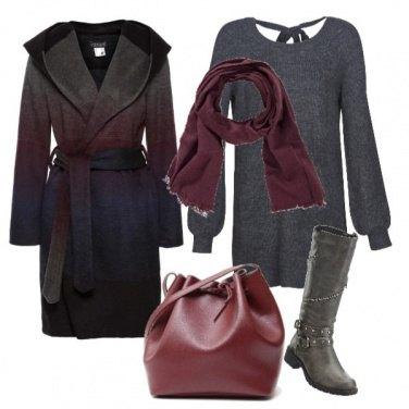 Outfit Mini abito e cappotto con cappucio
