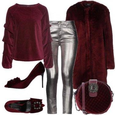 Outfit Bordeaux e argento