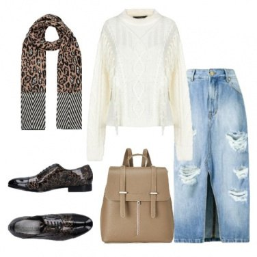 Outfit Stringata floreale gonna di jeans