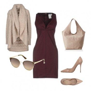 Outfit Vestito color vinaccia