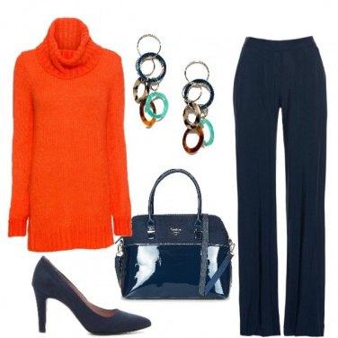 Outfit Chic con la maglia arancio