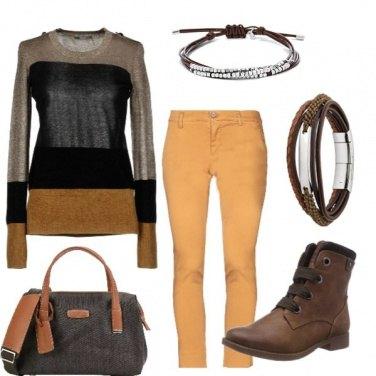Outfit Giallo e cuoio