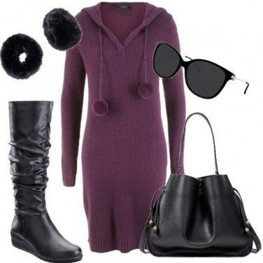 Outfit Vestito pompom e polsini peluche