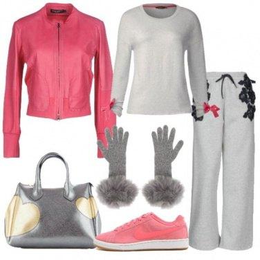 Outfit Giubbotto in pelle e dettagli trendy