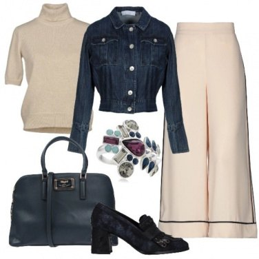 Outfit Deep blue and beige