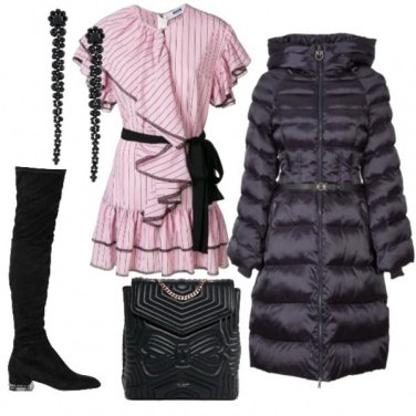 Outfit Abito rosa a righe