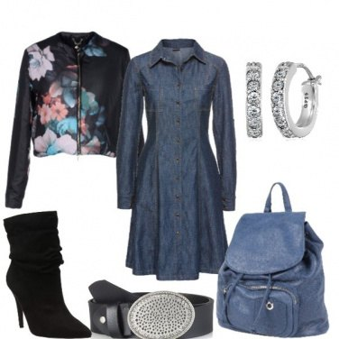 Outfit Abito di jeans e giubbotto floreale