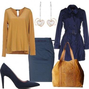 Outfit Blu e ocra per l'uffIcio