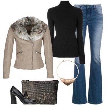 Outfit Giacca con pelliccia sintetica