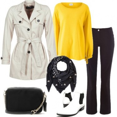 Outfit Trench e pullover giallo