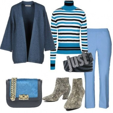 Outfit Dolcevita a righe stivaletto animalier