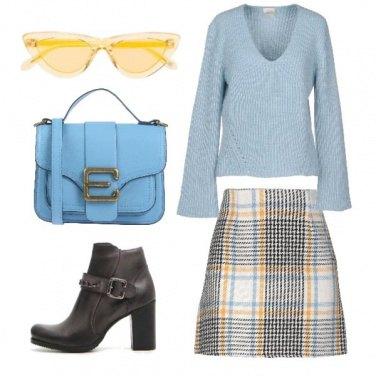 Outfit Gonna scozzese e minibag