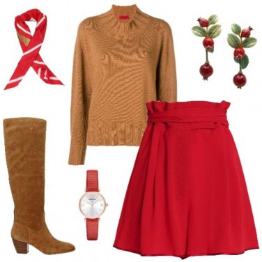 Outfit Rosso e cammello