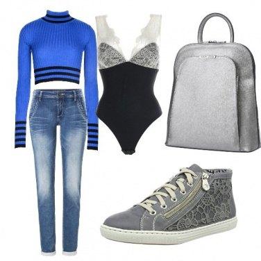 Outfit Azzurro e grigio