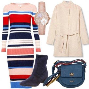 Outfit Vestito a righe multicolor