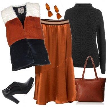 Outfit Al caldo con il gilet di pelliccia