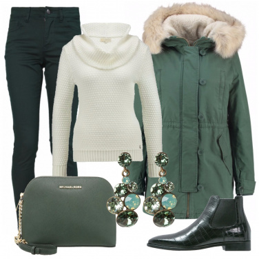 Outfit A lezione in verde
