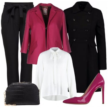 Outfit Bianco nero rosa