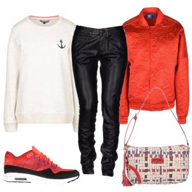 Outfit Bianco nero e rosso