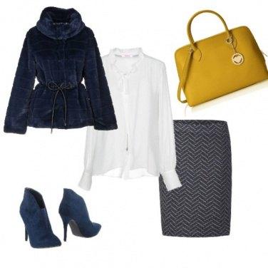 Outfit Bianco , blu e giallo