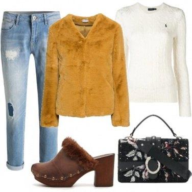 Outfit Ecopelliccia e mules
