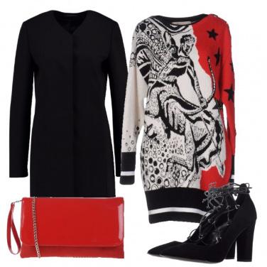 Outfit Bianco, nero e...rosso