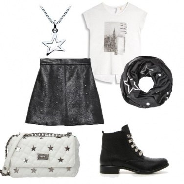 Outfit Black, white and stars