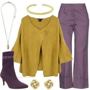 Outfit Senape & viola
