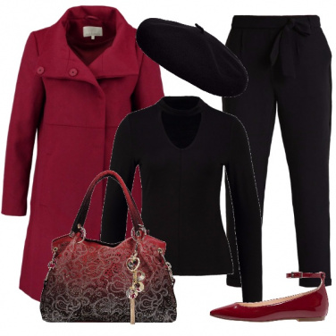 Outfit Pizzo in rosso e nero