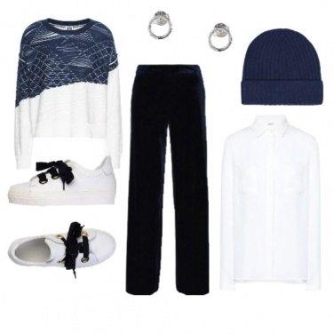Outfit Esclusiva in bianco e blu