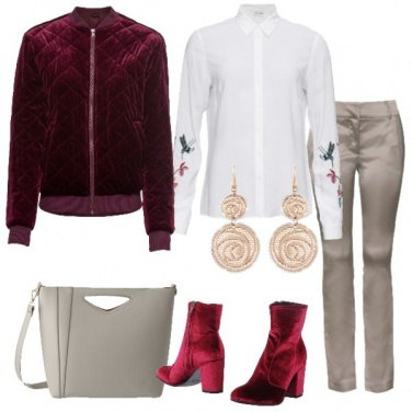Outfit Camicia ricamata bomber in velluto