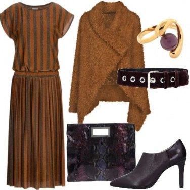Outfit Marrone Toffy e viola animalier