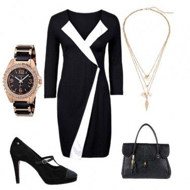 Outfit Vestito nero e bianco