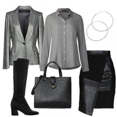 Outfit Grigio, nero e argento