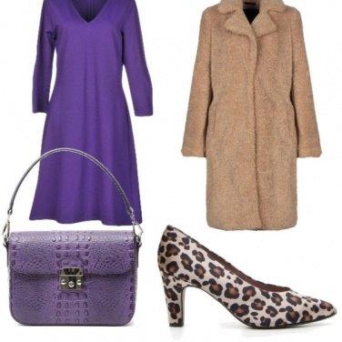 Outfit Purple e beige