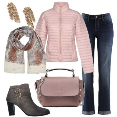 Outfit Il piumino rosa baby