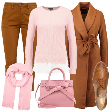 Outfit Caldo cammello, rosa pastello