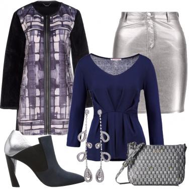 Outfit Nero blu e silver