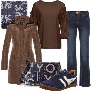 Outfit Marrone e denim